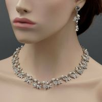 Rhodium Plated Pearl Crystal Necklace Earrings Bridal ...