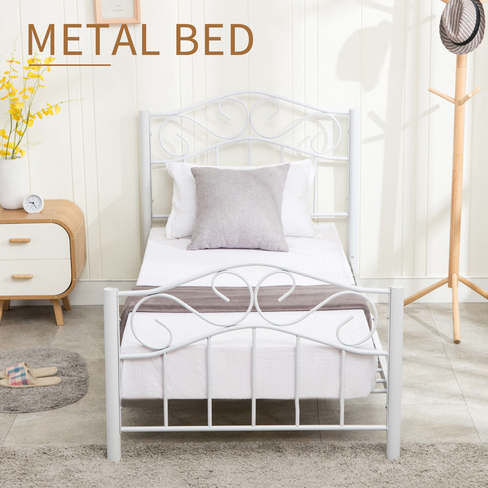Metal Bed Headboards Details About Heavy Duty Twin Size Metal Bed Frame W Headboard Footboard Girls Bedroom White