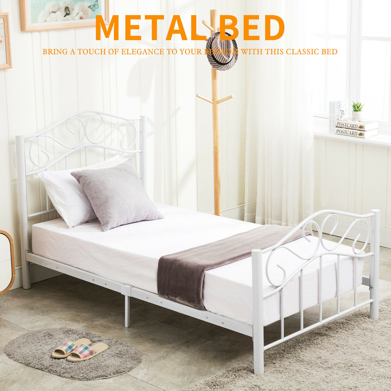 Metal Bed Headboards Details About Twin Size Heavy Duty Metal Bed Frame Headboard Footboard Bedroom Furniture White