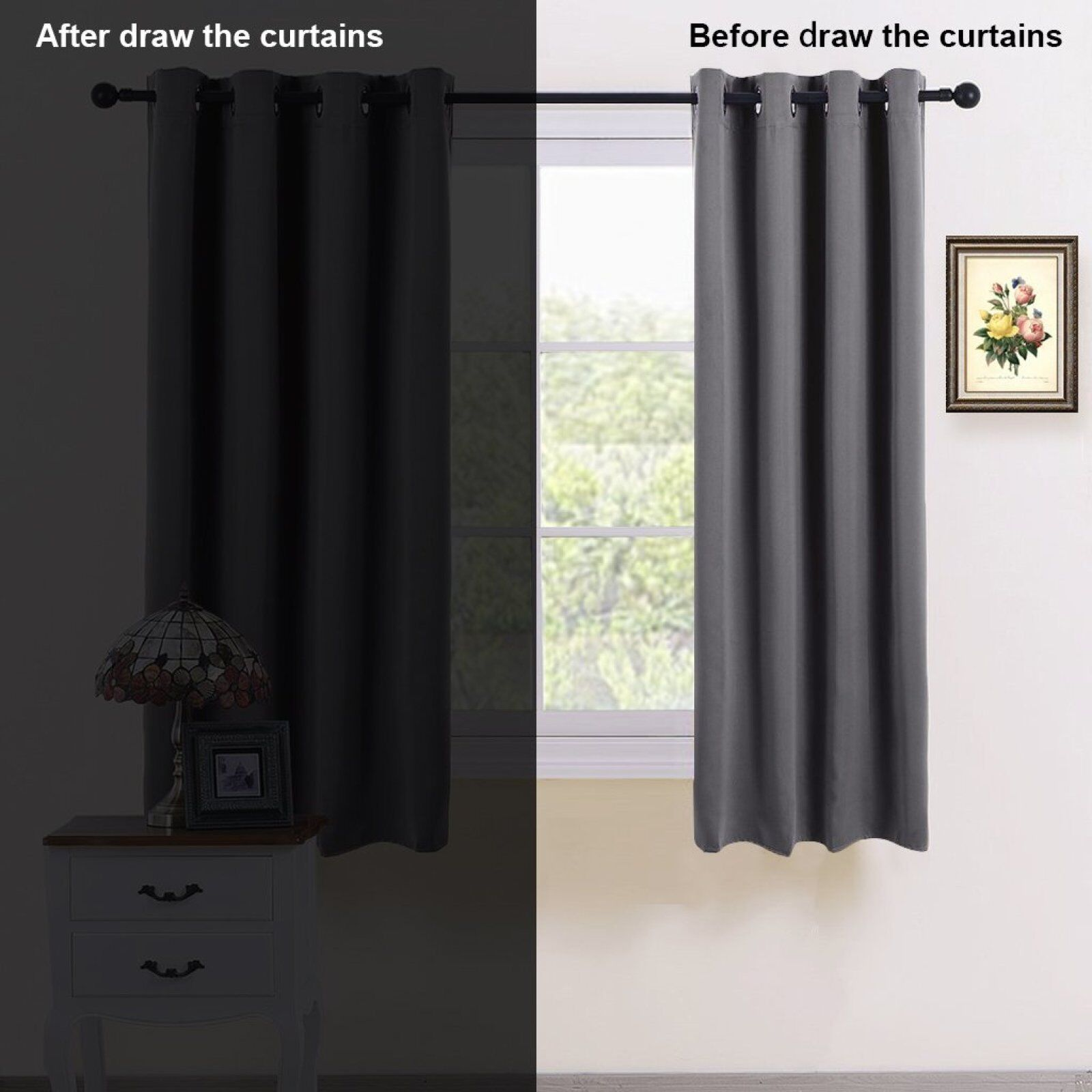 Pair Eyelet Blackout Curtains Thermal Insulated Curtain Kids Bedroom Dark Panel 602668837006 Ebay