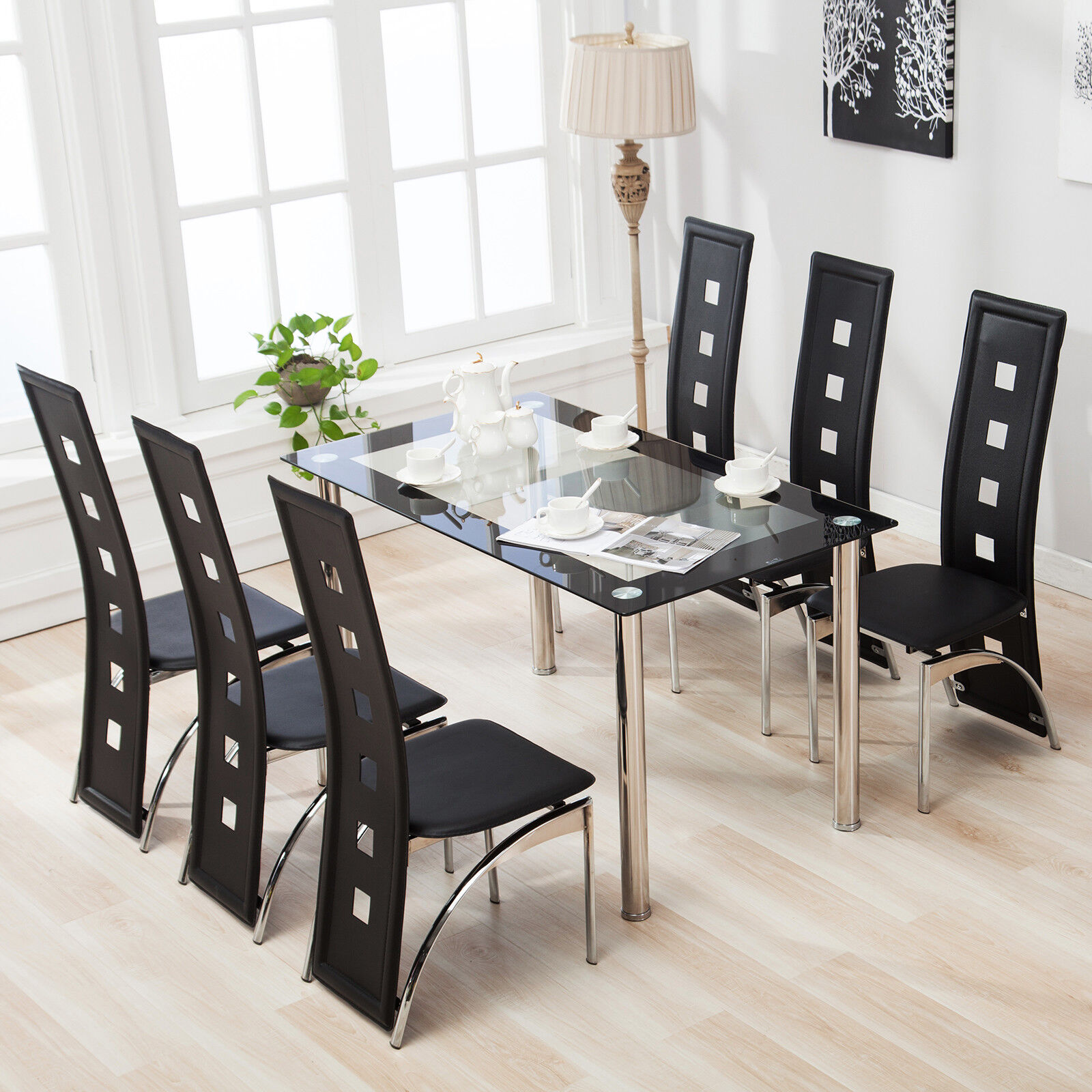 Breakfast Chairs Details About 7 Piece Dining Table Set With 6 Chairs Glass Metal Kitchen Breakfast Furniture
