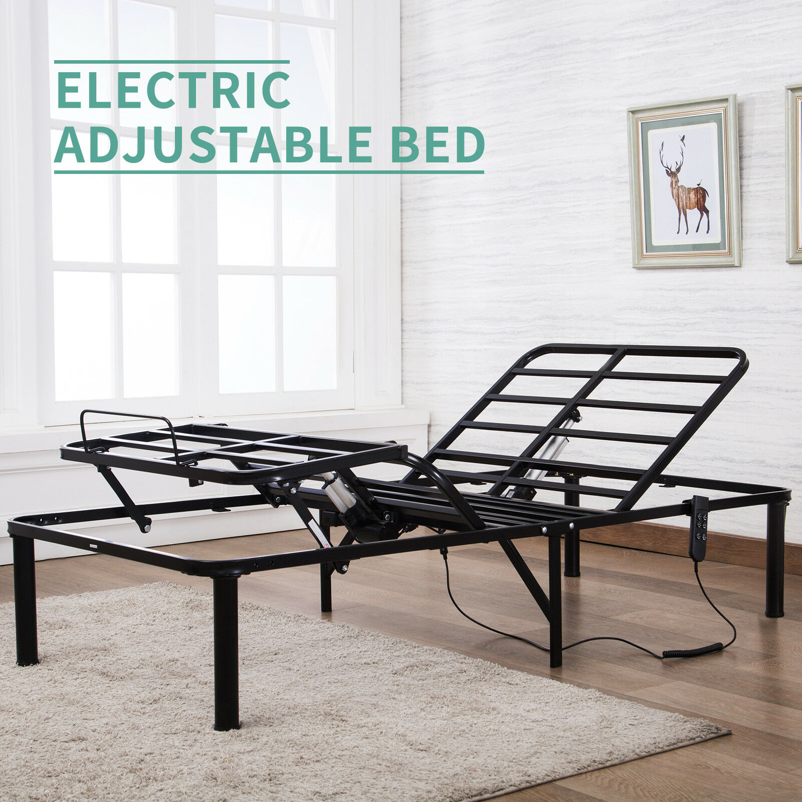 Adjustable Beds Electric Details About Bi Folding Twin Xl Metal Bed Frame Electric Adjustable Head Leg Elevation W Rc
