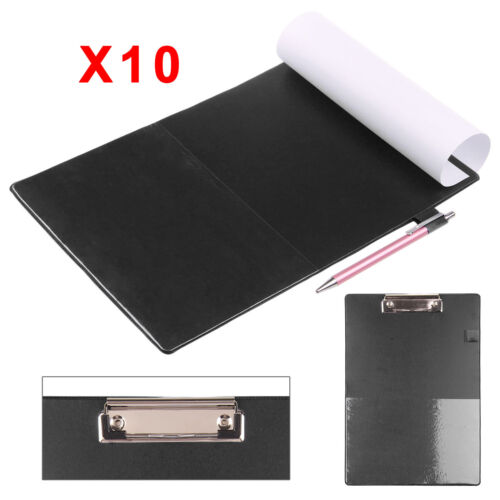 10 X Black Solid A4 Clipboard Clip Board Clipboards With