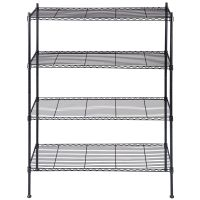 Black Storage Rack 4-Tier Organizer Kitchen Shelving Steel ...