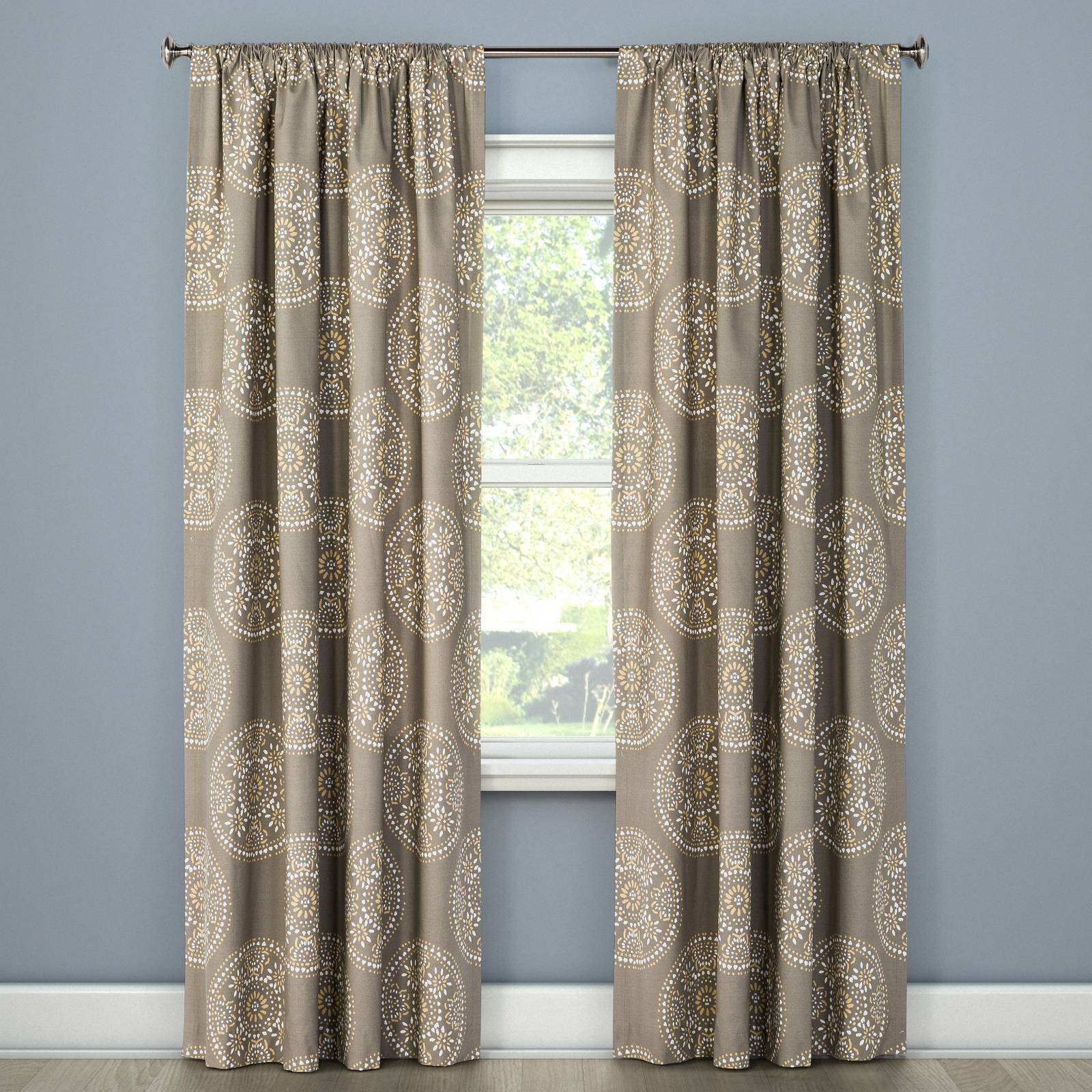 Target Curtain Panels Details About Tile Medallion Curtain Panel Gray Stone Threshold Target New 84l New