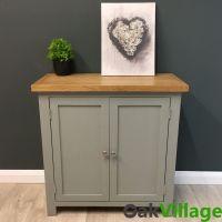 Greymore Painted Small Cupboard Oak / Grey Storage Cabinet ...