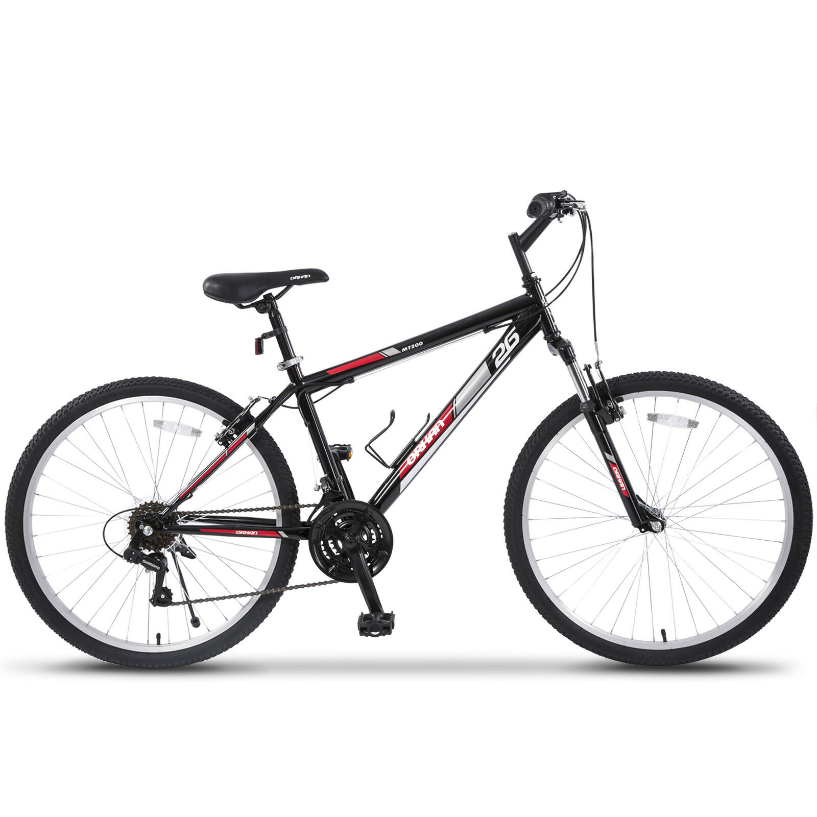 Hybrid Bicycles Details About 26 Mountain Bike Hybrid Bike 18 Speed Front Suspension Shimano Bicycles Black