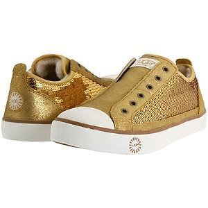 New Ugg Laela Gold Sparkle Sequin Sneakers Tennis Shoes