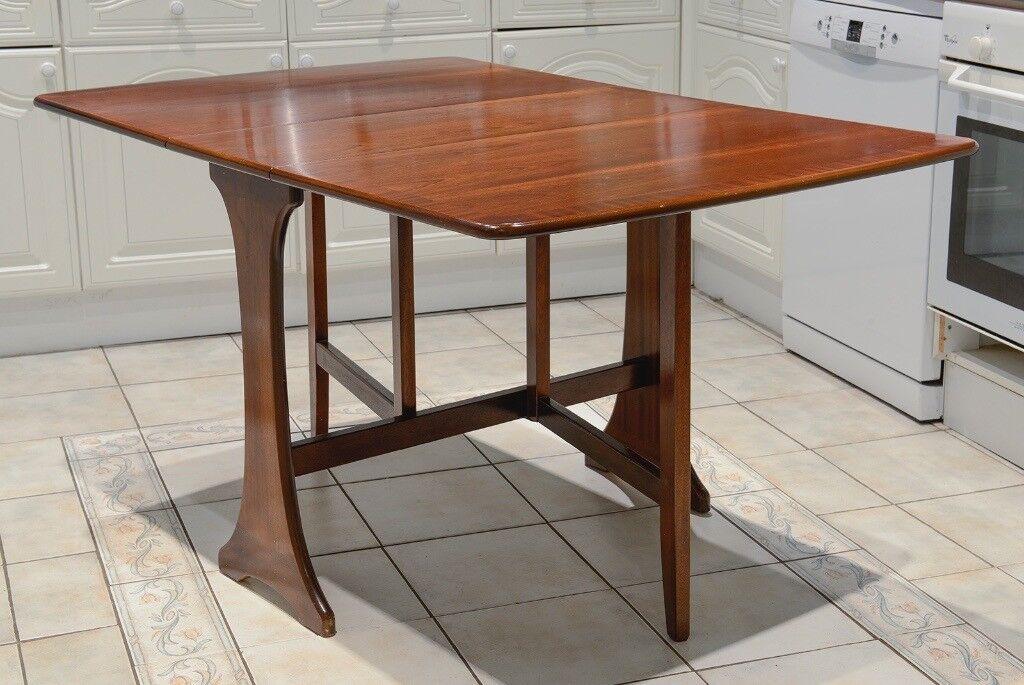 G Plan Drop Leaf Gate Leg Dining Table. Solid Mahogany