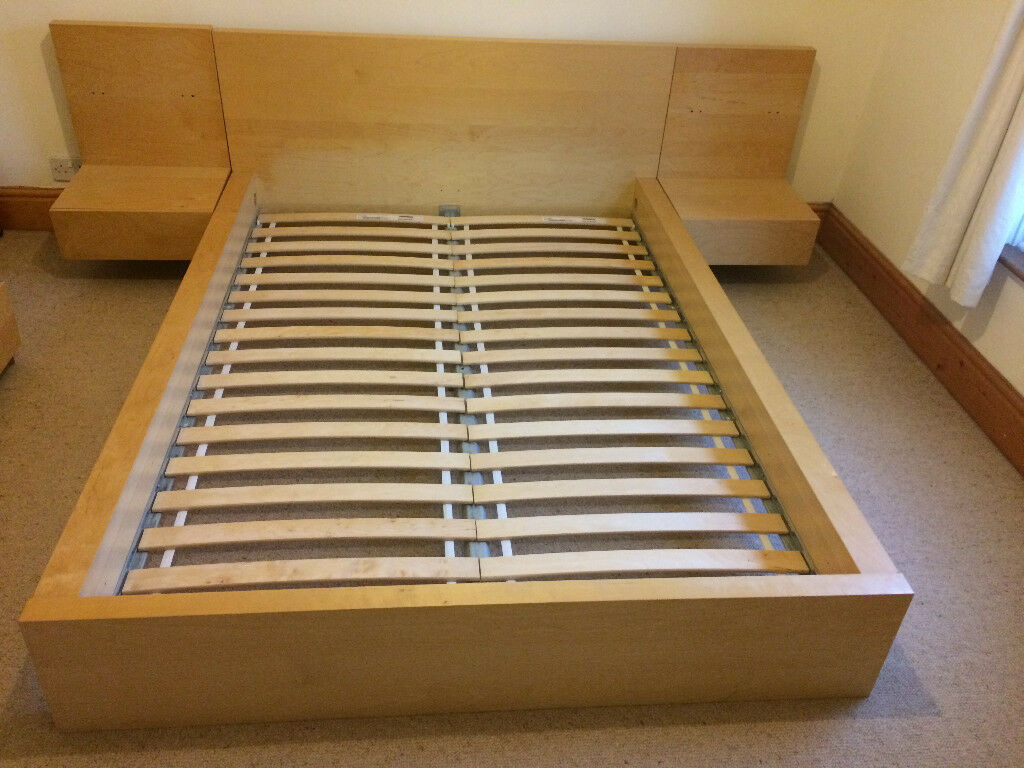 Double Beds Ikea Ikea Double Bed Frame With Adjoining Bed Side Tables In