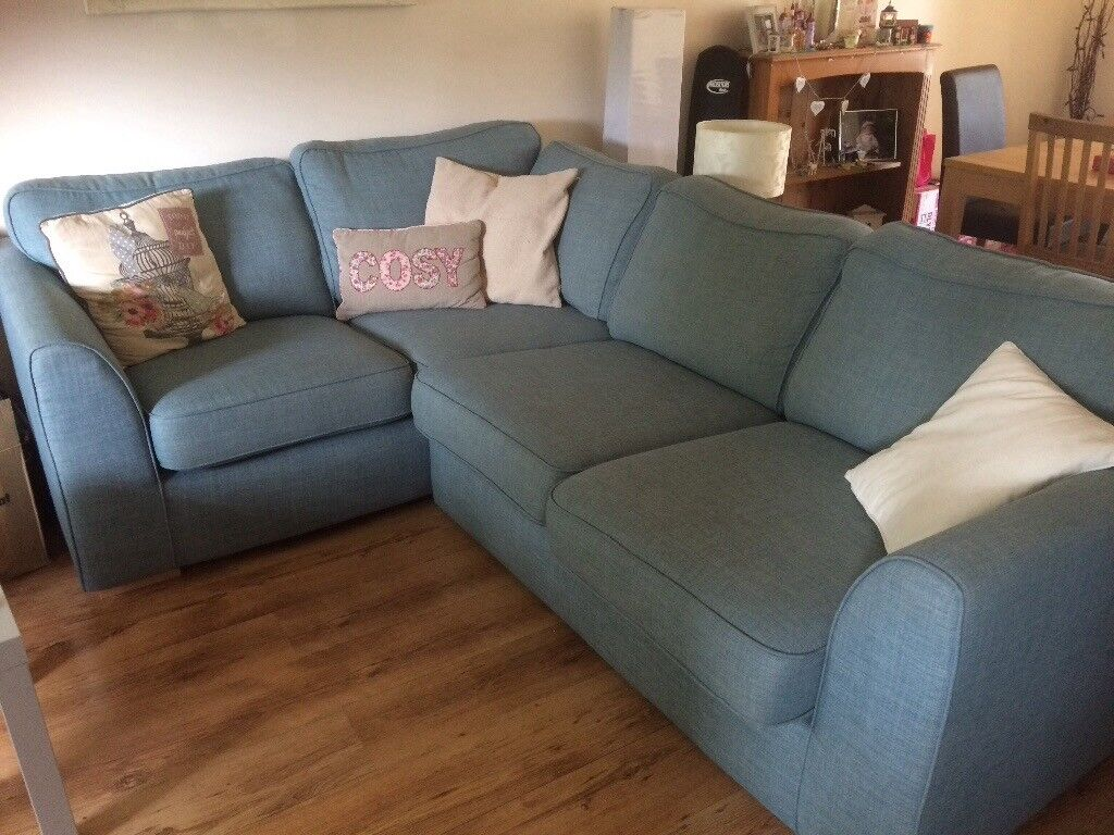 House Of Fraser Leather Corner Sofas Dfs Right Handed Corner Sofa In Sky Blue! Less Than A Year
