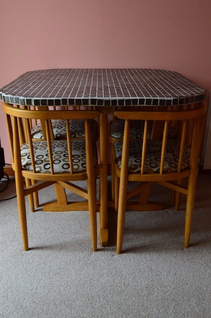 1960s Danish Kitchen Table SPACE SAVER   4 Chairs Tuck Under Table   Space  Saver Kitchen