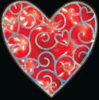 Valentine Lighted Red Foil Heart Window Decoration | eBay
