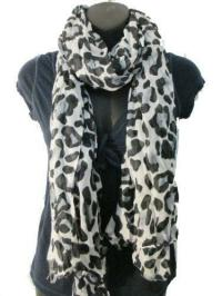 White Leopard Print Scarf