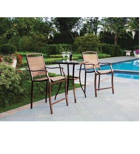 Bistro Set Glass Top Table Bar Height Chairs Outdoor Patio