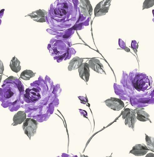 Black And Cream Damask Wallpaper Purple Grey Wallpaper Ebay