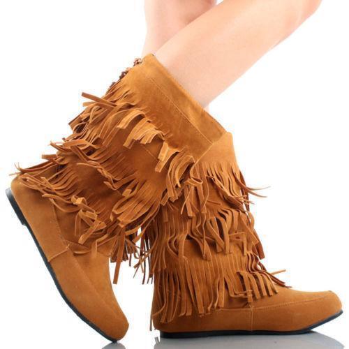 Fringe Boots Indian Moccasin Ebay
