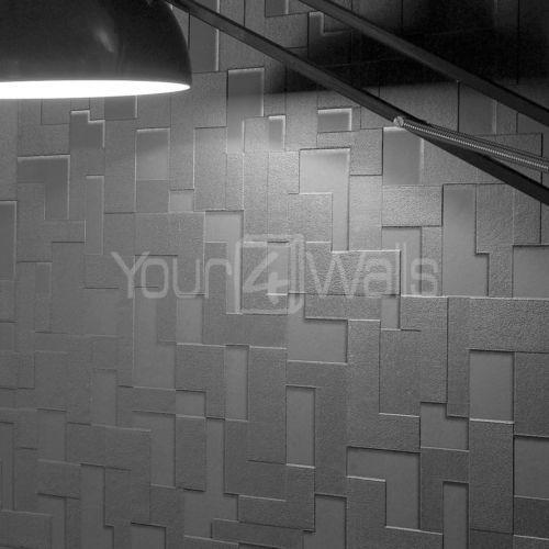 3d Grey Brick Effect Wallpaper Brick Effect 3d Wallpaper Ebay