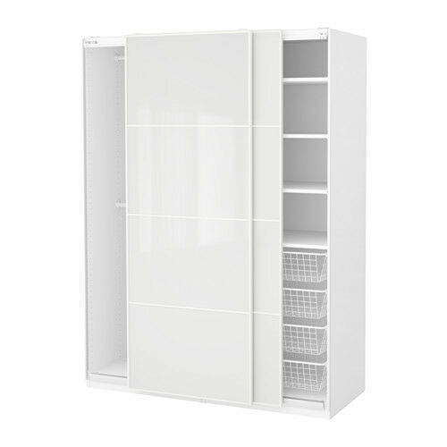 Ikea Pax Double Wardrobe White Gloss Sliding Doors Excellent Condition With Shelves And - Vorhänge Paneele Ikea