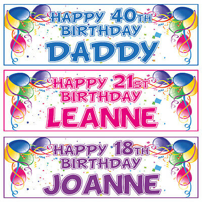 2 PERSONALISED BALLOON BIRTHDAY BANNERS - 1st 18th 21st 40th 50th