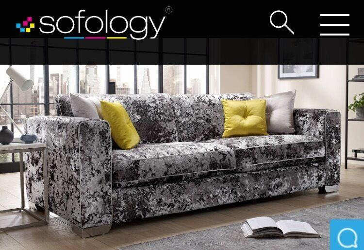 Silver Grey Crushed Velvet Sofa 4 Seat 1 Large Lounge