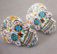Sugar Skull Day of the Dead Tattoo Stud Earrings Kitsch ...
