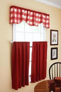 Red Country Plaid Kitchen Curtains