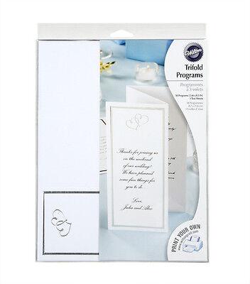 Elegant New Silver Wilton Trifold Print Your Own Wedding program- 50