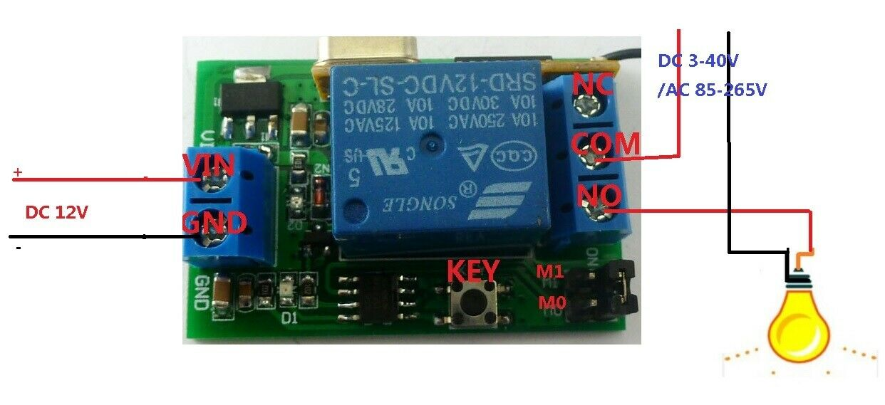 DC 12v Relay Wireless Remote Control RF Switch On/off Switch + Delay