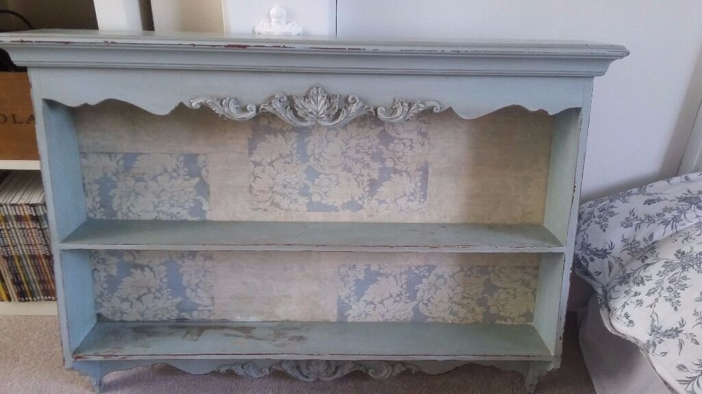 Shabby Chic Wall Mounted Shelves Duck Egg Blue With