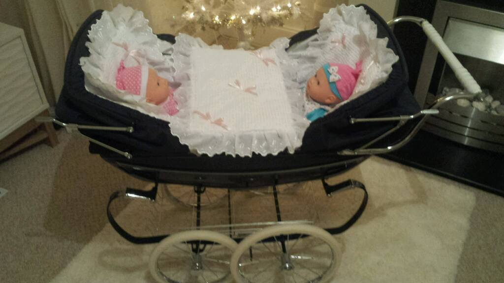 Double Pushchair With Buggy Board Silvercross Twin Navy Coach Built Dolls Pram Silver Cross