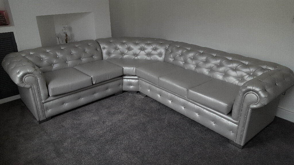 4 Seater Chesterfield Corner Sofa 5 Seater Chesterfield Leather Corner Sofa (any Colour
