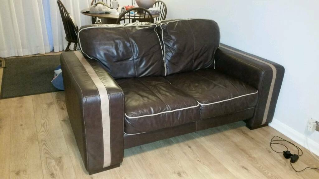 Large 3 And 2 Seater Leather Dfs Suite In Ifield West