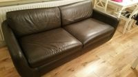Habitat brown leather sofa bed and chair set with poufe ...