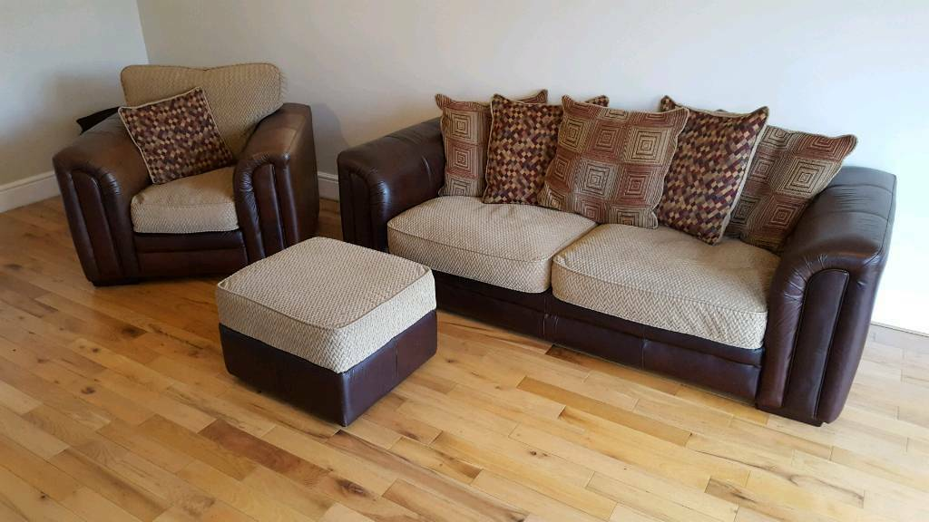 Sofas On Gumtree London Leather And Cloth Sofa, Arm Chair And Footstool | In