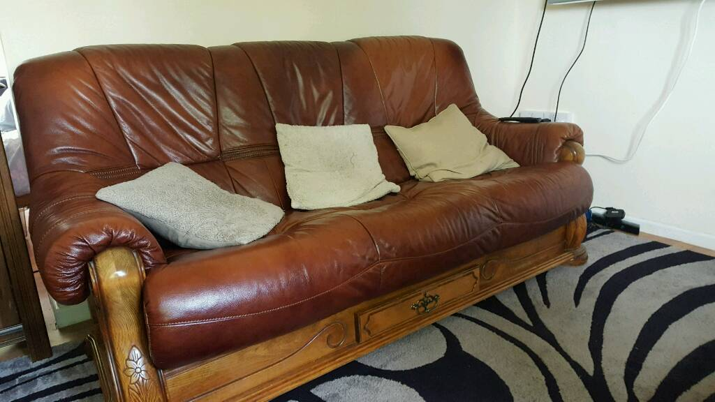 Grey Sofas For Sale Gumtree Leather Sofa With Wooden Frame. From Scs | In Chesterfield