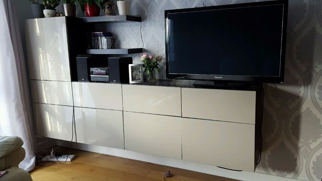 Ikea Besta Tv Storage Unit With Glossy Beige Doors Plus 2