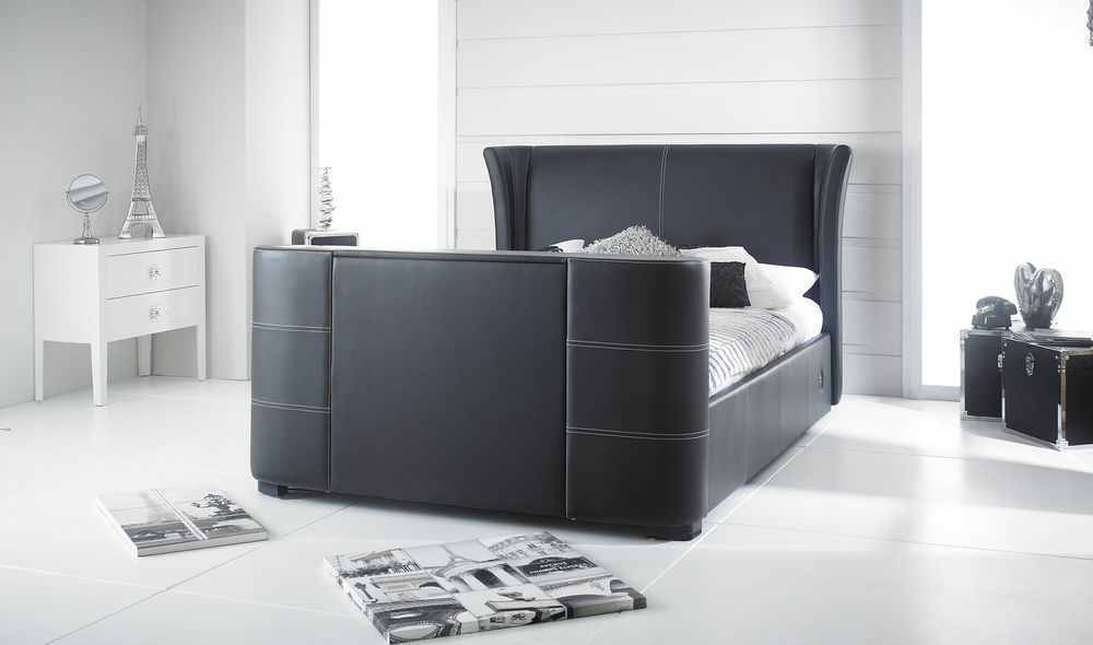 Ikea Wardrobe Valet Black King Size Valencia Tv Bed Frame , Holds Tv Up To