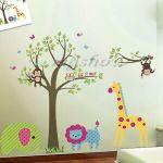 Monkey Giraffe Elephant Nursery Wall Art