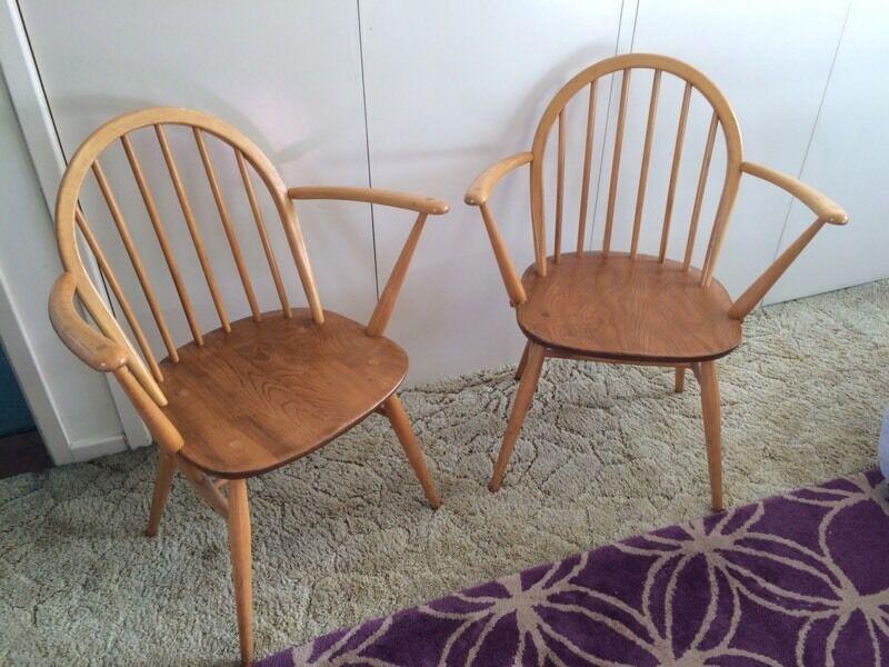 Vintage Retro Ercol Windsor Carver Chair In Bangor