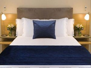 Plain Bed Runner Pillow Cover Navy Blue Piping Bed Scarf