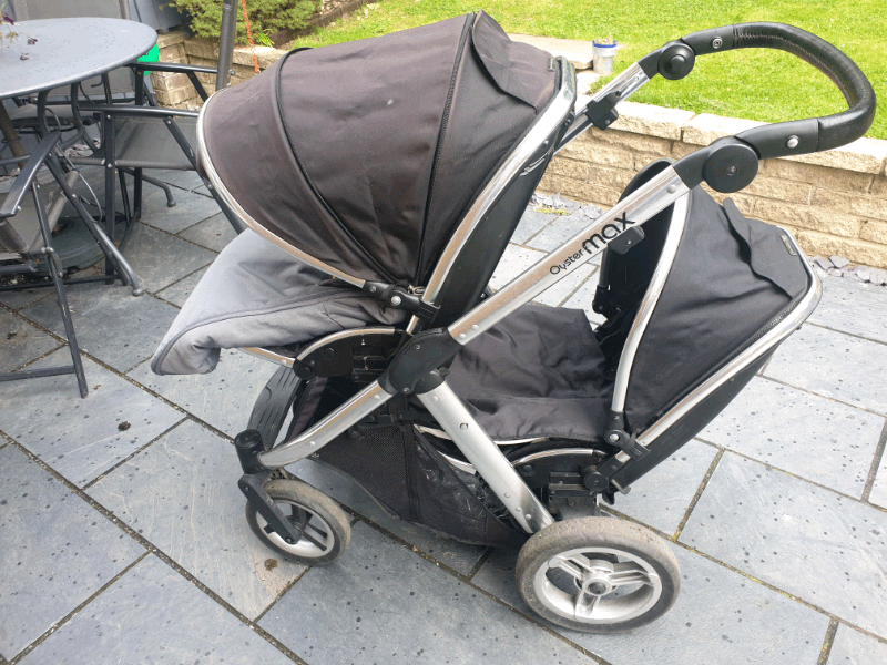 Oyster Max Tandem Adapters Oyster Max Double Pushchair With Carrycot In Oakwood