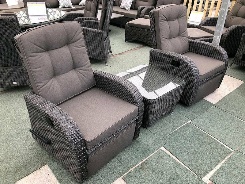 Rocking Reclining Rattan Bistro Set In Stone Grey In