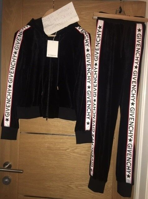 Nike Tracksuit Hoodie Givenchy Tracksuit Velvet Jacket Bottoms Set Black Size