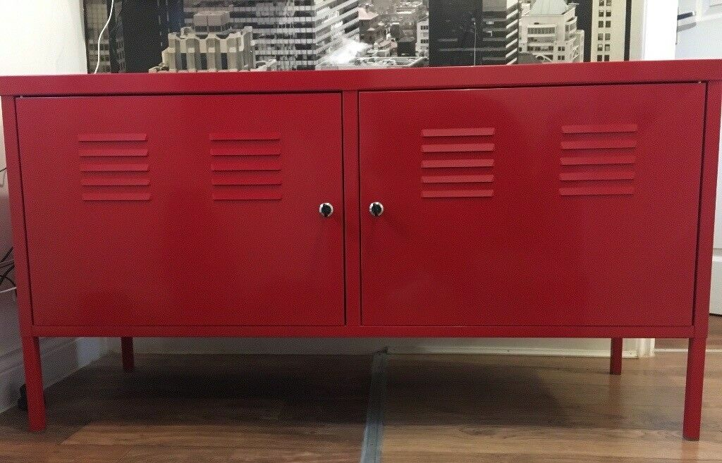 Ikea Tv Corner Stand Ikea Red Metal Cabinet / Tv Unit / Sideboard 119cm | In