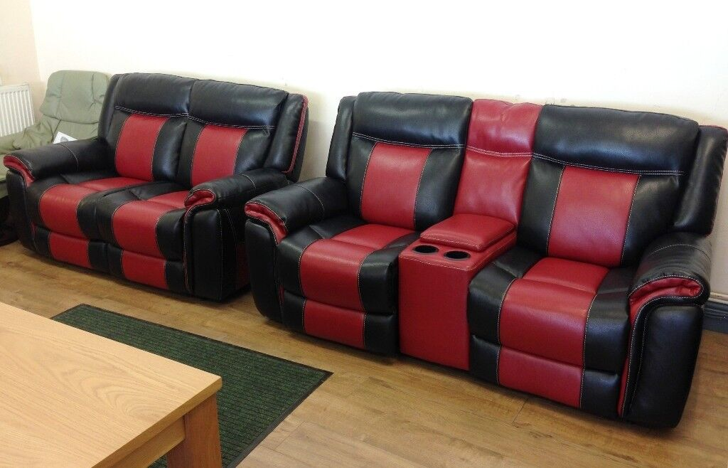 Dfs Leather Sofa Scs Baxter - Black & Red , Electric Reclining 2+2 Sofa