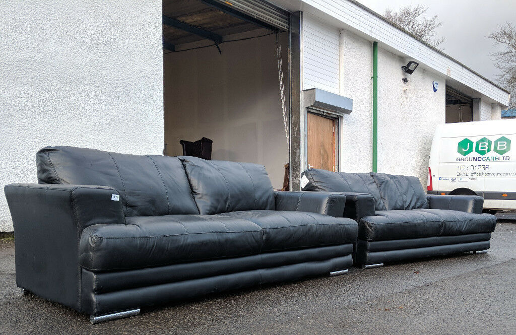 Dfs Sofas Glasgow Pair Of Dfs Black Leather 3 Seater Sofas Delivery
