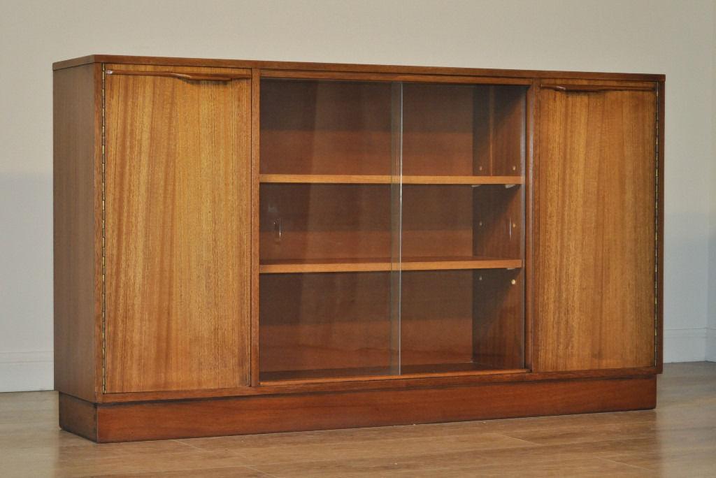 Retro 196039s Long Low Teak Glass Sliding Door Bookcase
