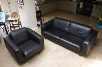 Habitat Escalus black leather sofa and chair | in County ...