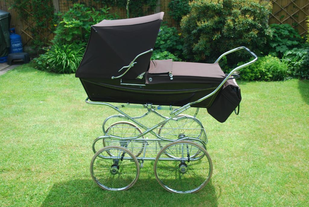 Bugaboo Pushchair Bag Brown Silver Cross Coach Pram With Chrome Shopping Tray